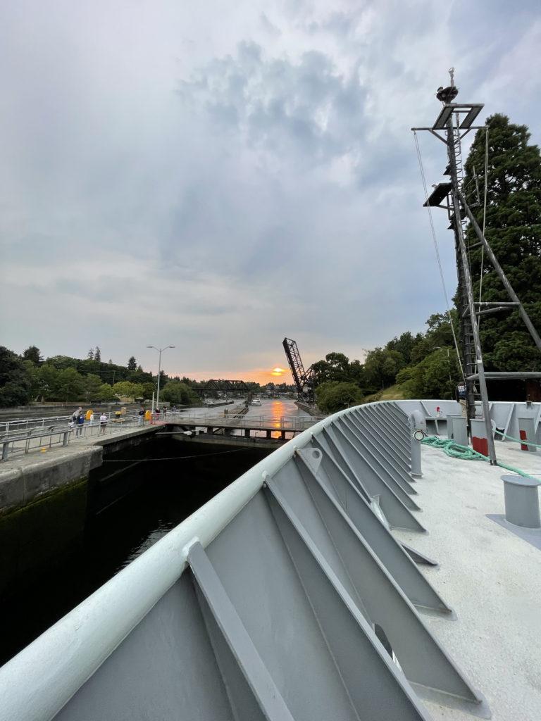 The R/V Thompson at the Ballard Locks, waiting to go into the sound. Credit: Z. Nachod, University of Washington, V21.