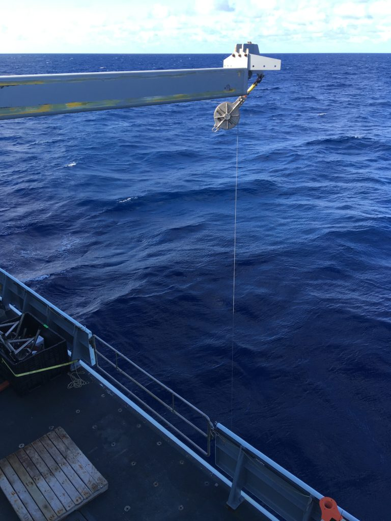 The first CTD cast is conducted on the R/V Thompson for the RCA 2021 expedition. Credit: A. Baker, University of Oregon, V21.