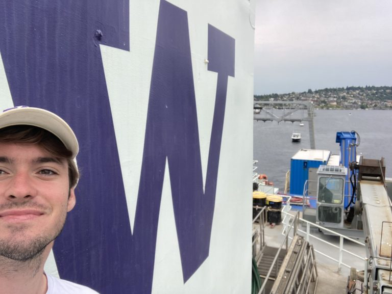 UW undergraduate Connor Fink, onboard the R/V Thompson as she sails out of Seattle for Leg 1 of the RCA 2021 Expedition. Credit: C. Fink, University of Washington, V21.