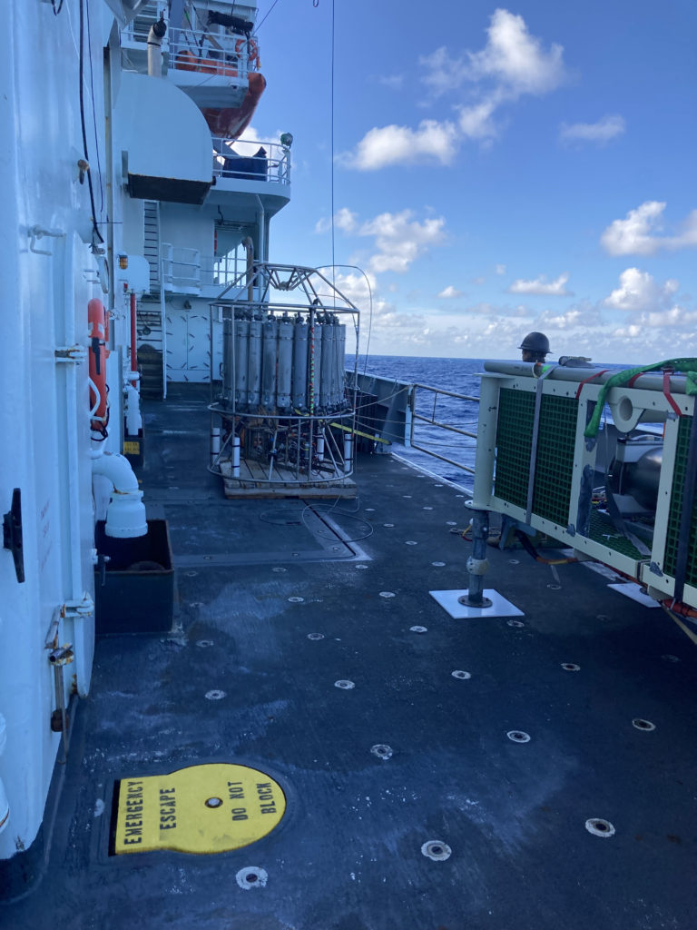 The CTD rossette awaits its deployment into the Pacific. Credit: C. Fink, University of Washington, V21.