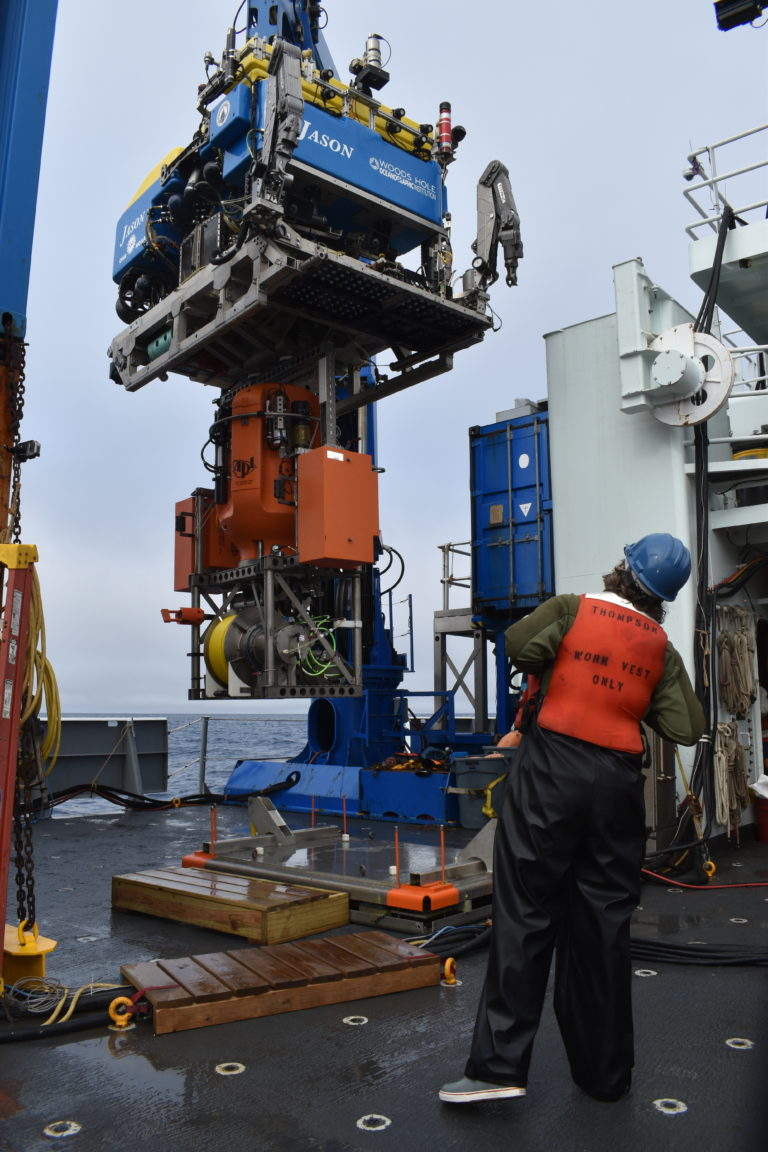 A science pod is latched beneath Jason for deployment on the Shallow Profiler Mooring at Axial Base. Credit: M. Elend, University of Washington, V21.