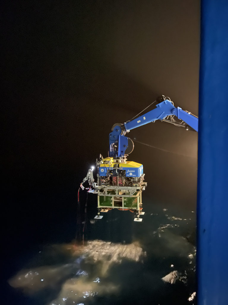 Jason returns to the Thompson with the recovered LV03A junction box from 2600 m at the base of Axial Seamount. Credit: Z. Nachod, university of Washington, V21.