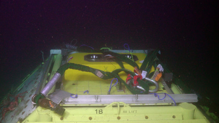 A recovery bridle is attached to the top or Primary Node PN1B. Credit: UW/NSF-OOI/WHOI, V21.