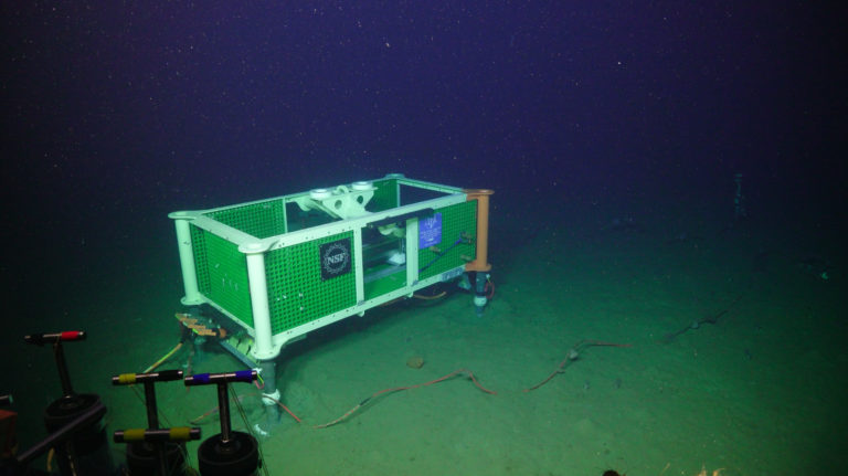 The refurbished medium power junction box, installed at Slope Base in 2021. Credit: UW/NSF-OOI/WHOI, V21.