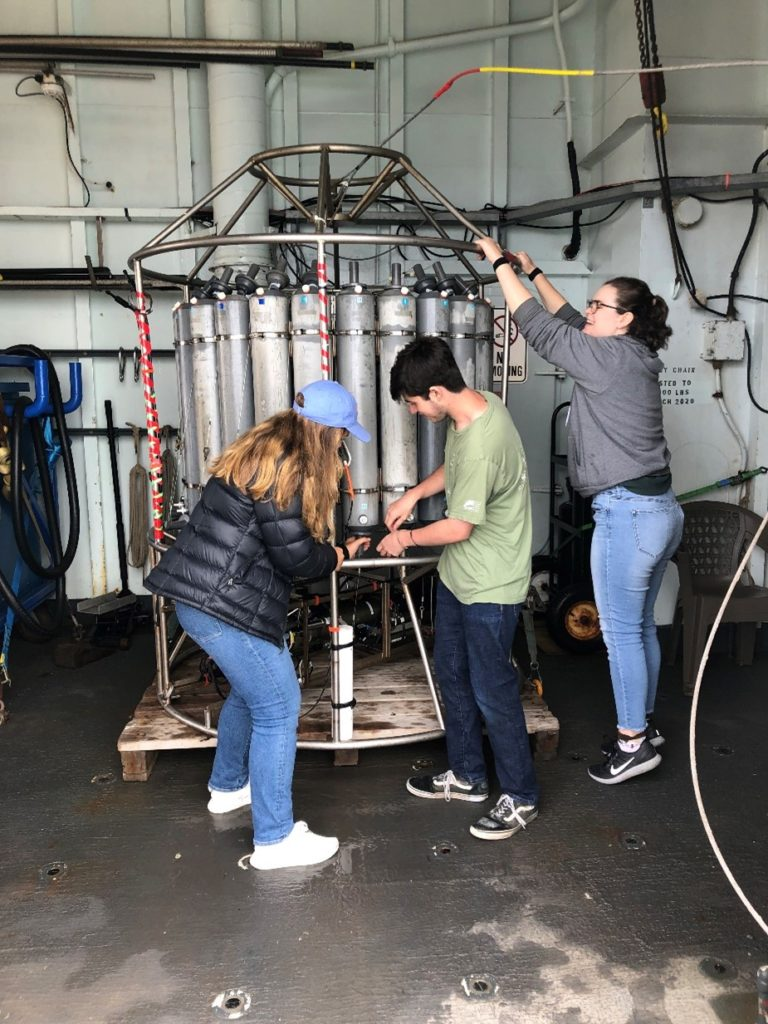 Jenn, Genevieve, and I were all excited to learn how to prepare a CTD rosette for a cast, especially give the fact that all of us have never even seen one in real life before. Photo credit: R. Scott, University of Washington, V21.