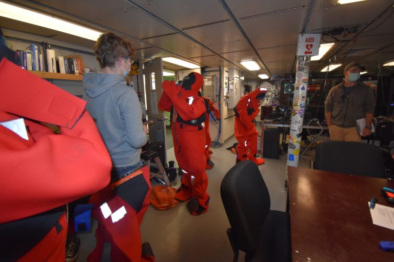Me in the immersion suit. Credit: Mitch Elend, University of Washington, V21.