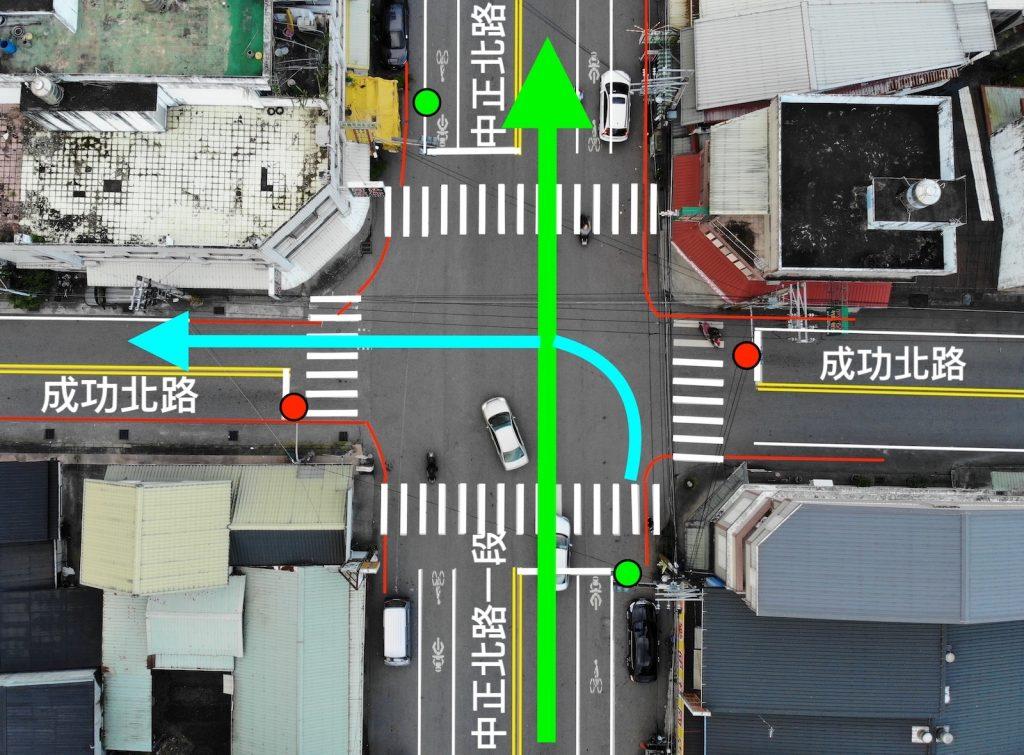 我做了一張示意圖,看看「闖紅燈」與「靠左的左轉」的別在哪裡