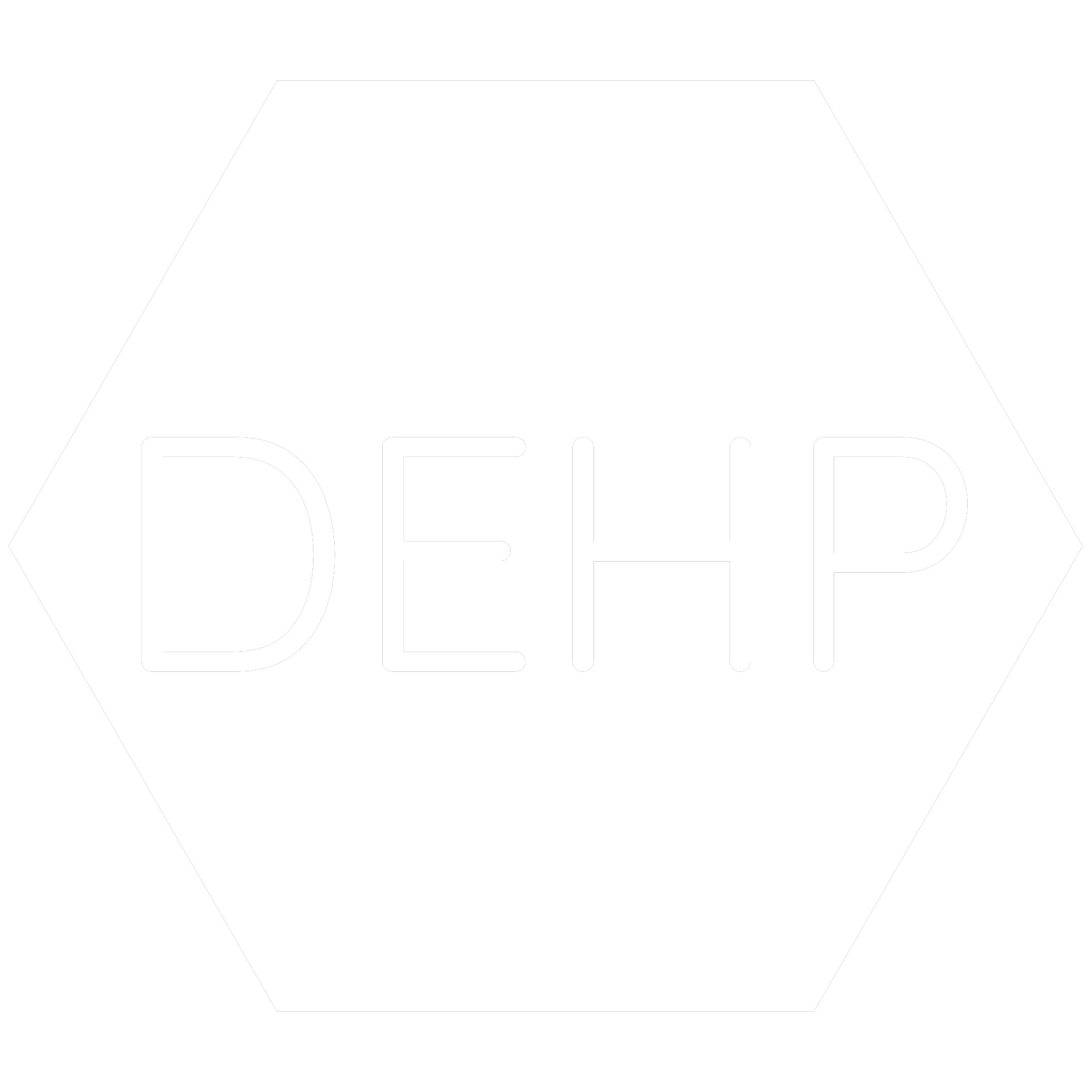 White hexagon icon with the chemical symbol for Bis(2- Ethylhexyl) Phthalate  which is a banned RoHS substance.