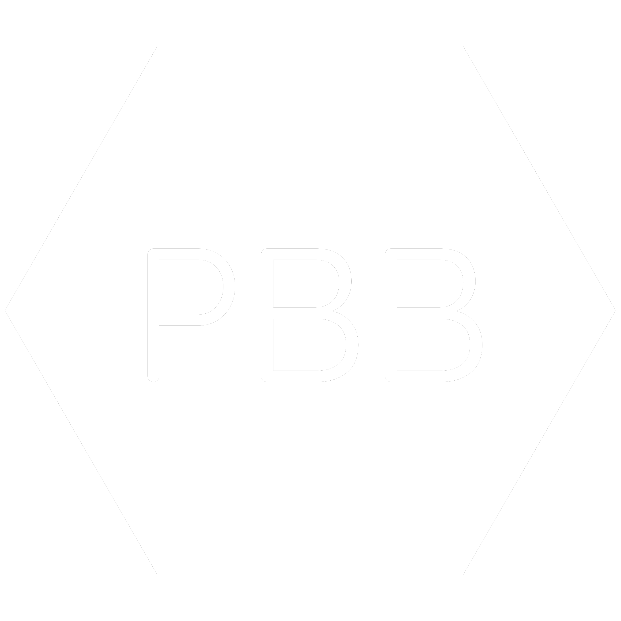 White hexagon icon with the chemical symbol for Polybrominated Biphenyls which is a banned RoHS substance.