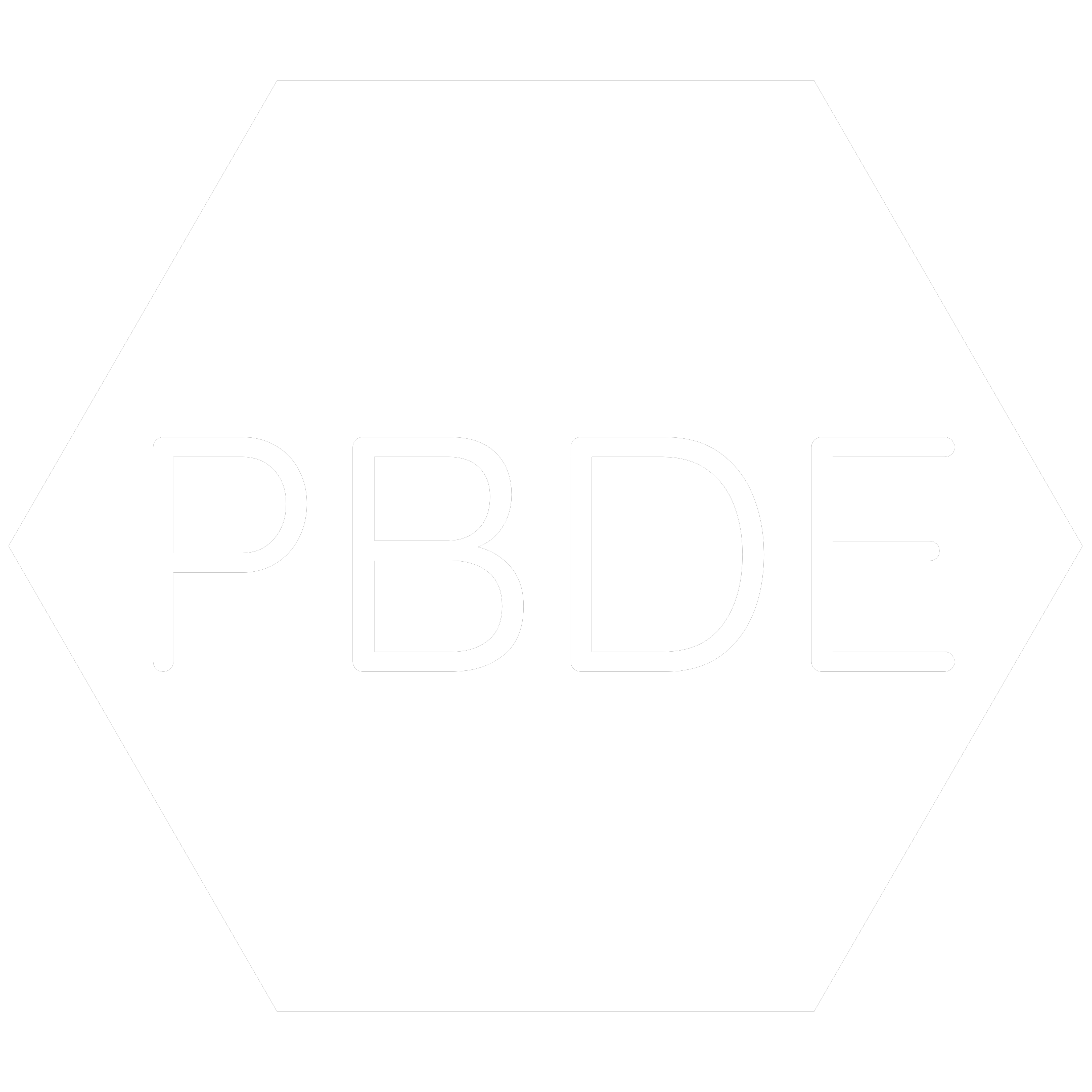 White hexagon icon with the chemical symbol for Polybrominated Diphenyl which is a banned RoHS substance.