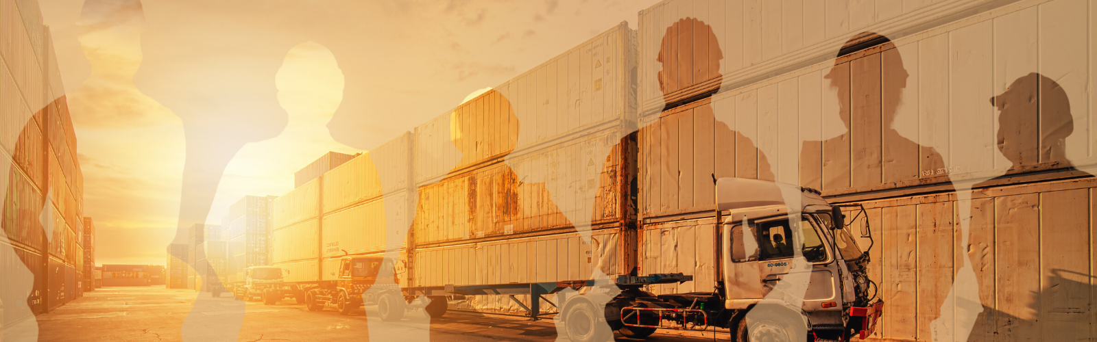 Outlines of logistics employees with a yellow sunset sky background with trucks, cargo containers, and other supply chain transportation modes.