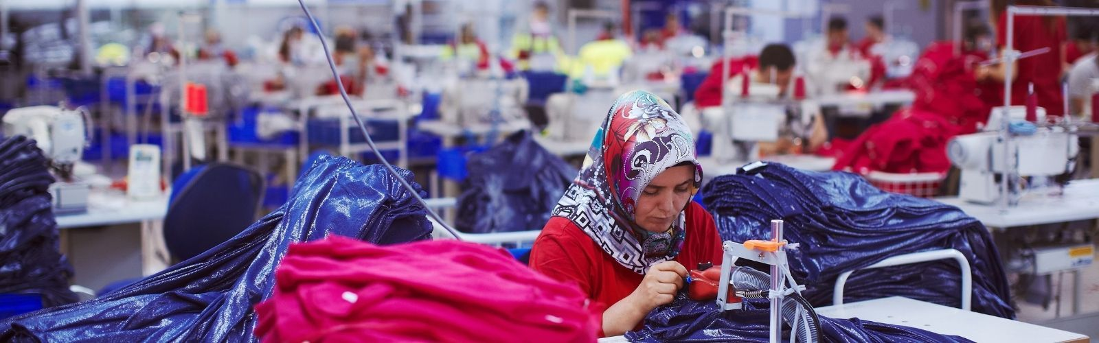 Uyghur and other minorities working in a forced labor factory in Xinjiang, China.