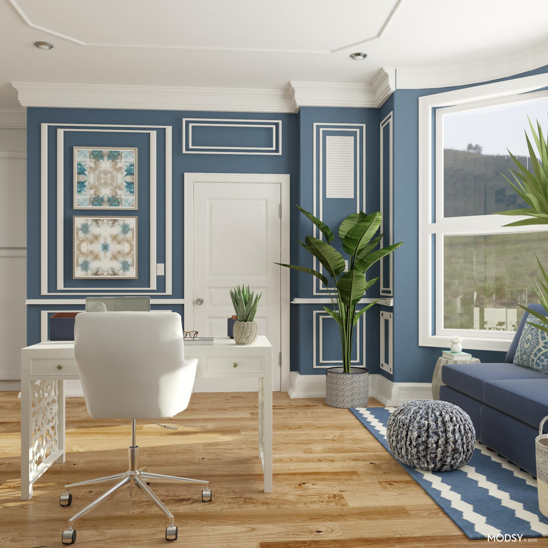 N Style Designs On Transitional Design: Transitional Blue Workspace