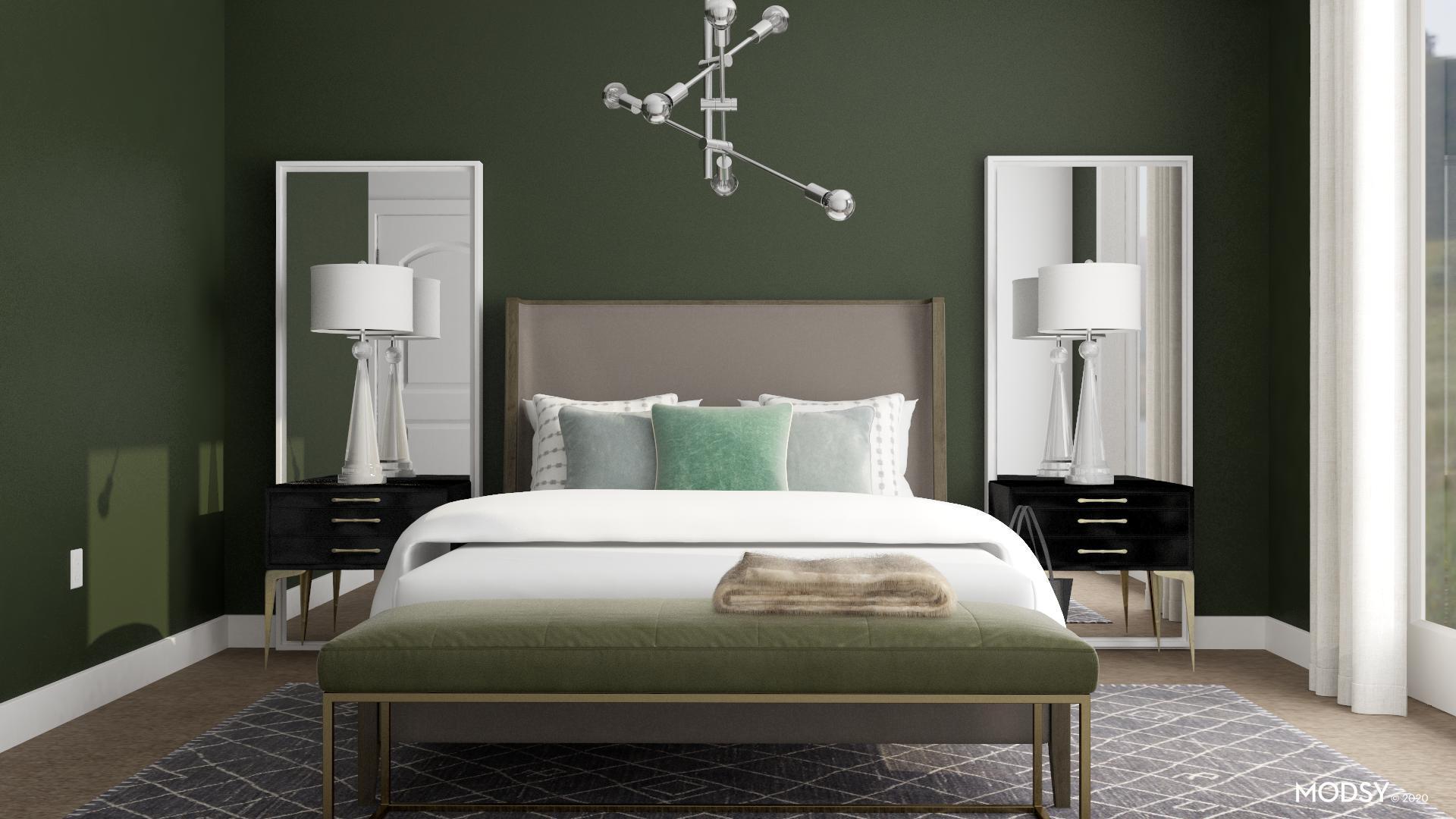 A Modern Green Bedroom | Modern-Style Bedroom Design Ideas