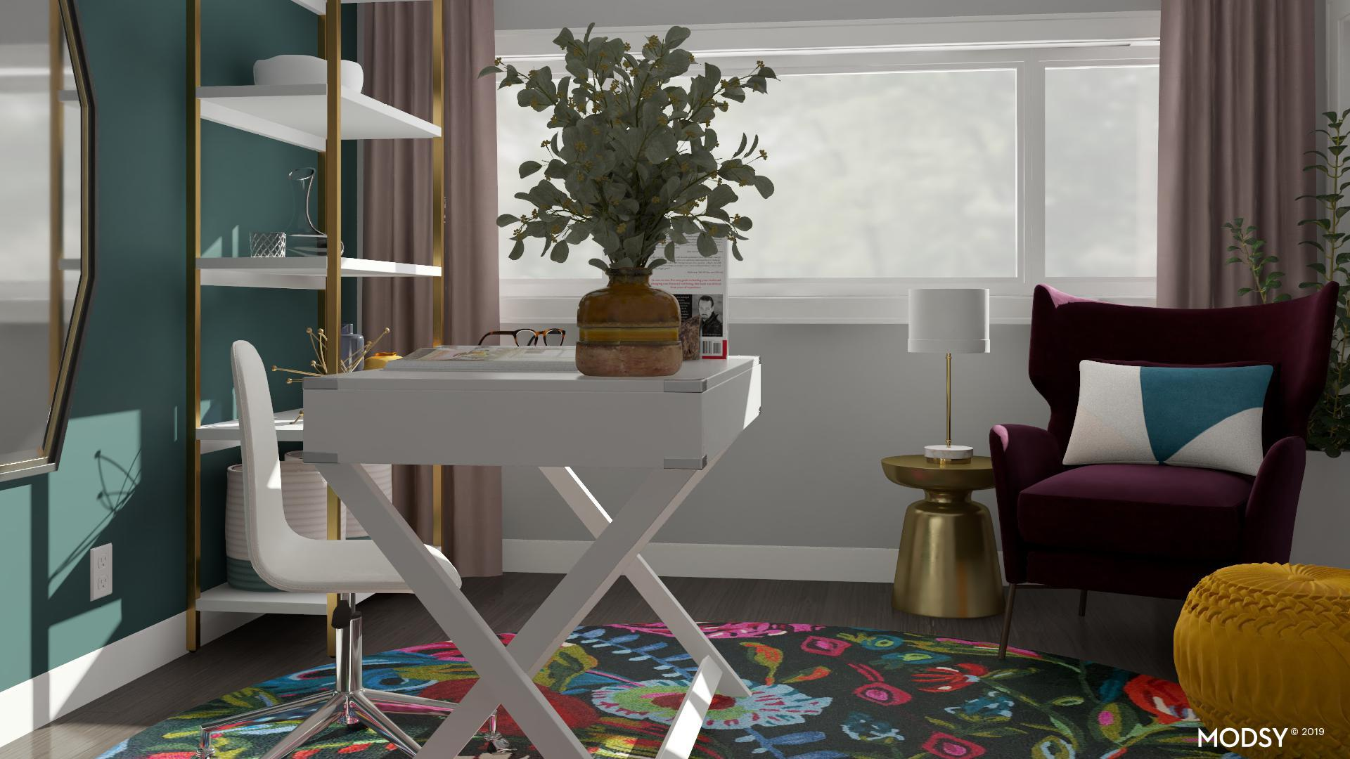 Picture of: Mod Jewel Tone Accent Chair In Feminine Office Mid Century Modern Style Home Office Design Ideas