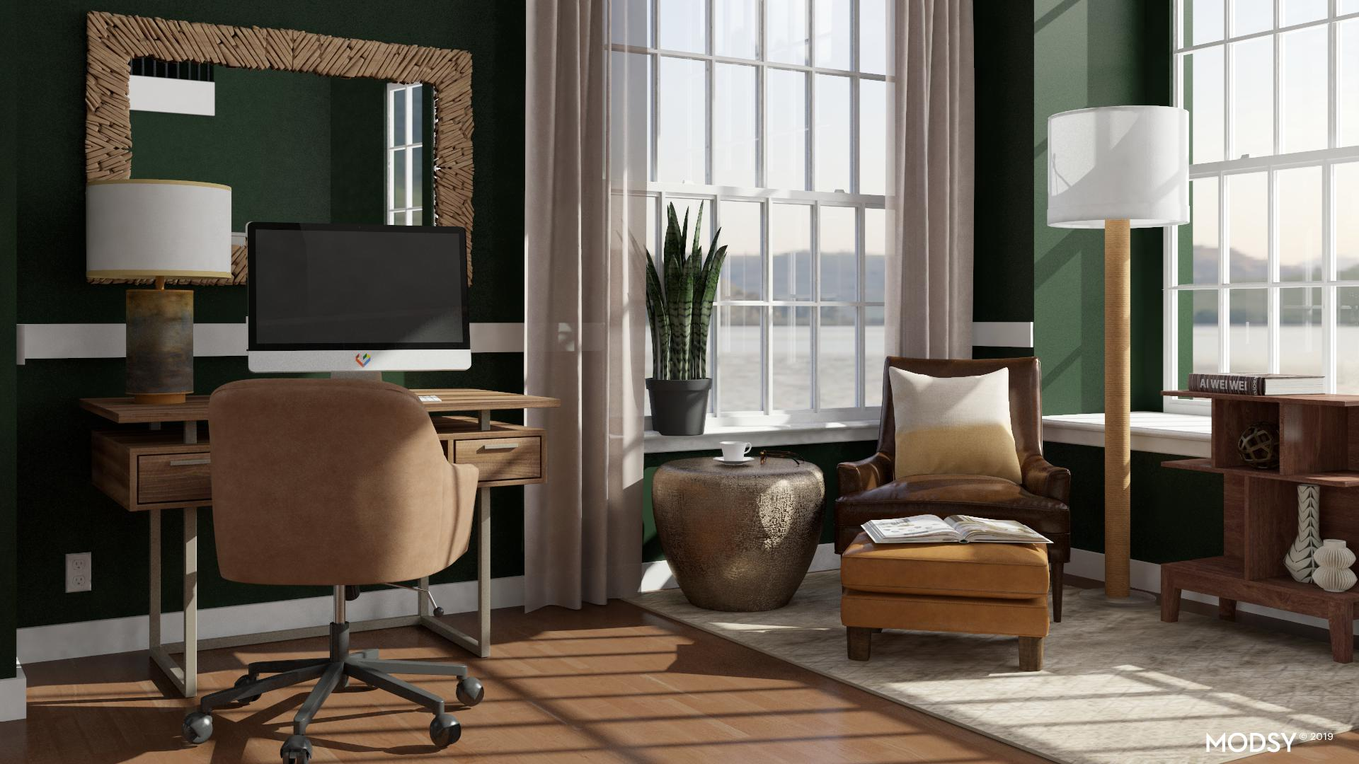 Evergreen Office Amp Reading Nook Minimalist Style Home