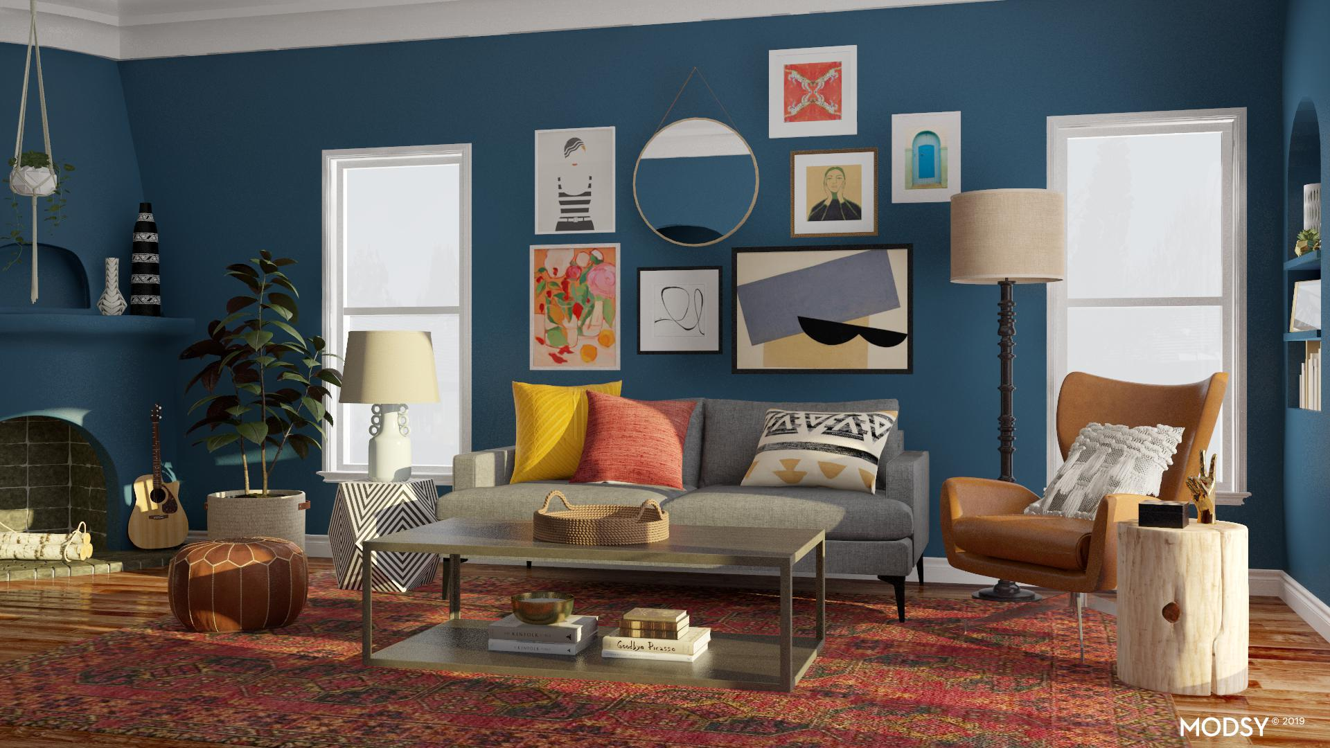 Eclectic Bold Living Room Design Style