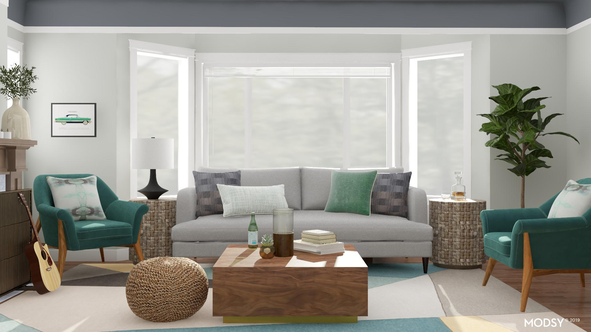 Bright Living Room In Green Mid Century Modern Style