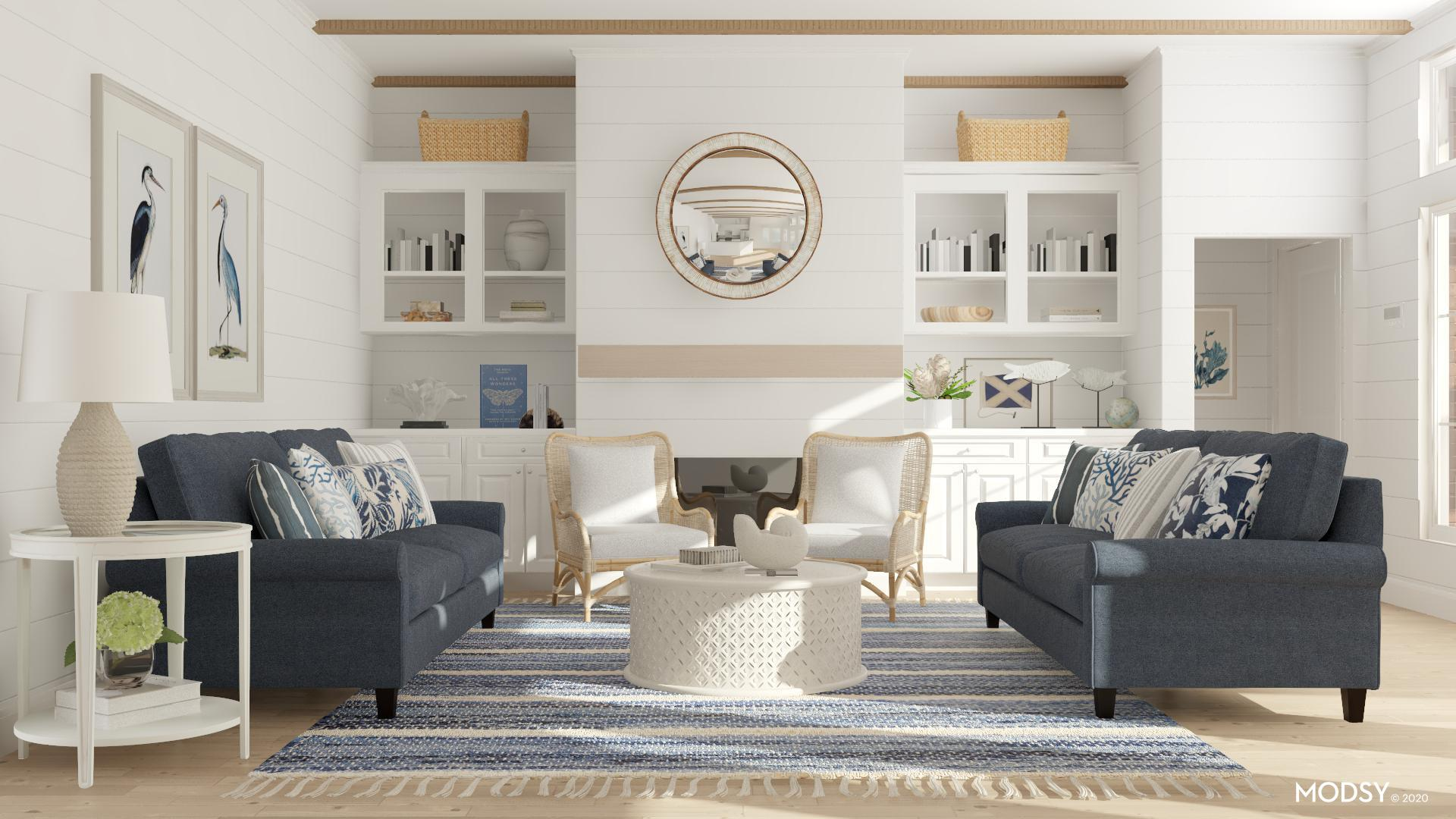 Down By The Sea | Coastal-Style Living Room Design Ideas