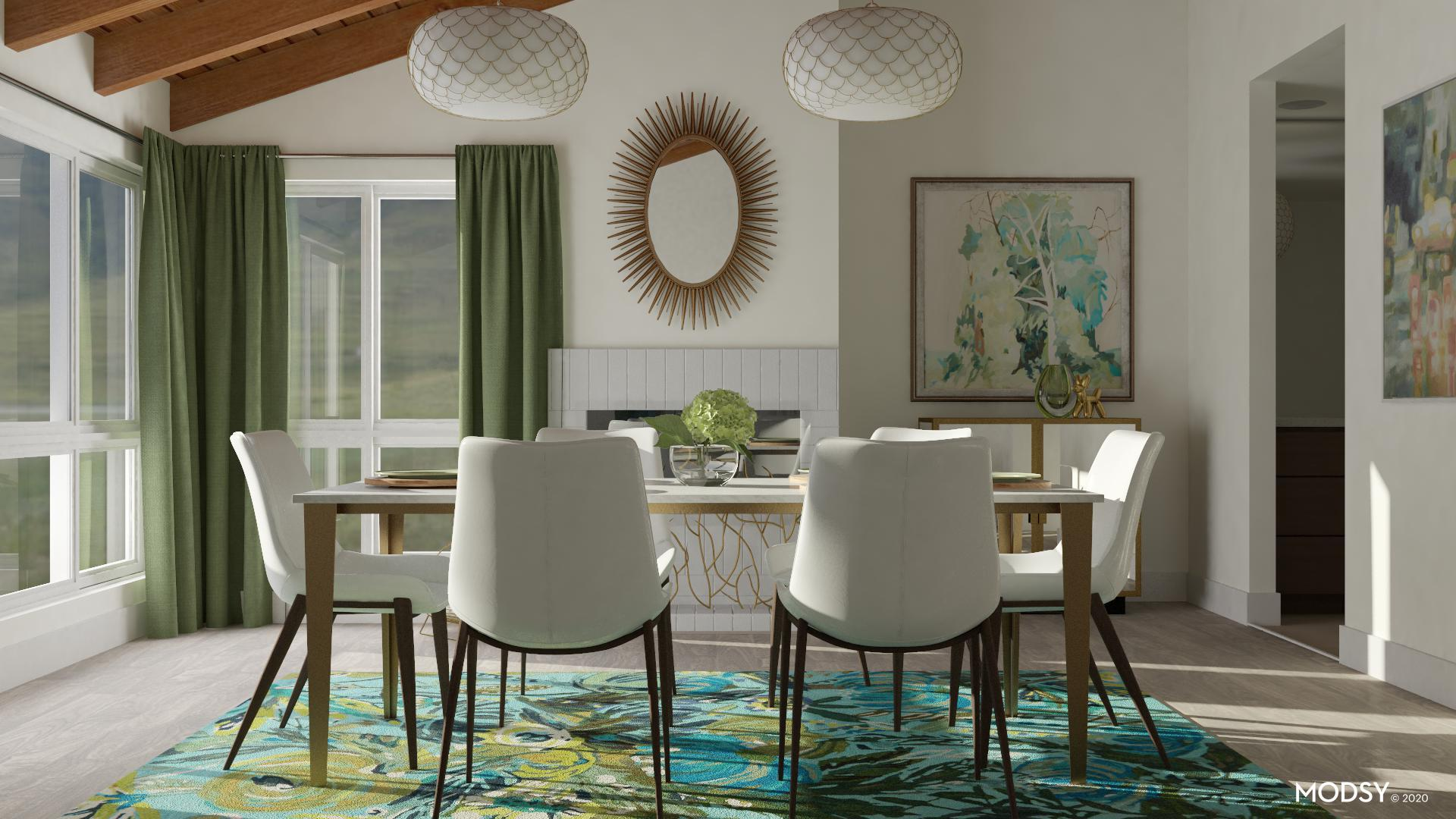 Green Themed Dining Room | Modern-Style Dining Room Design ...