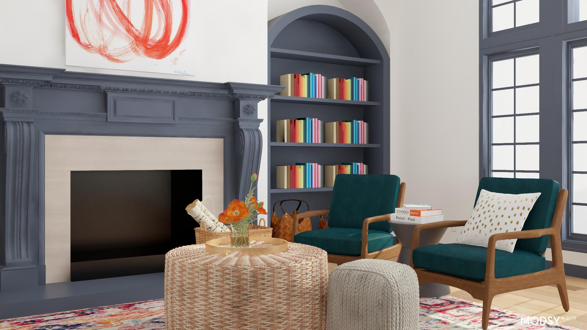 modern living room with bright multi color  modernstyle