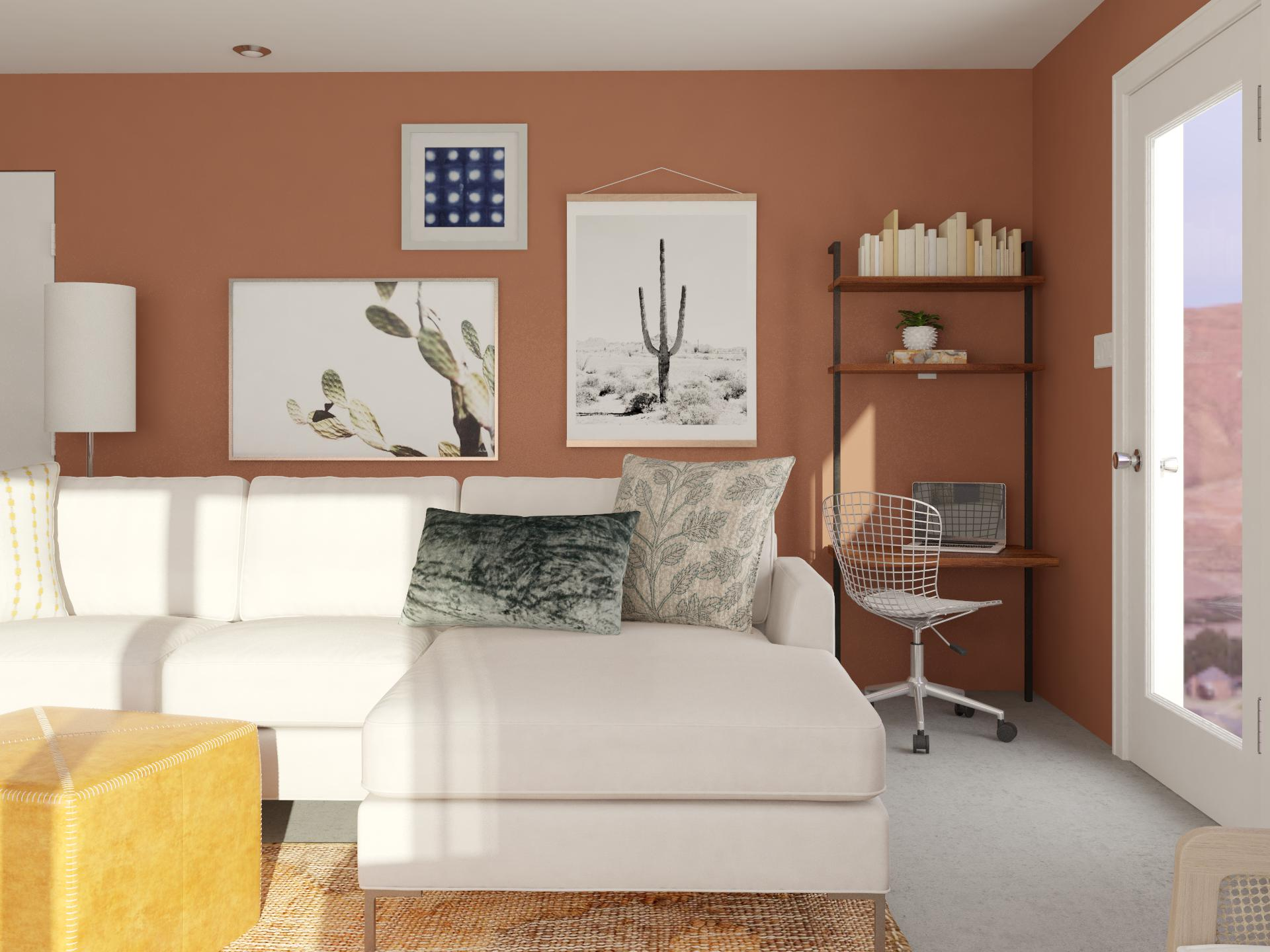 contemporary living room with striking earth tones and