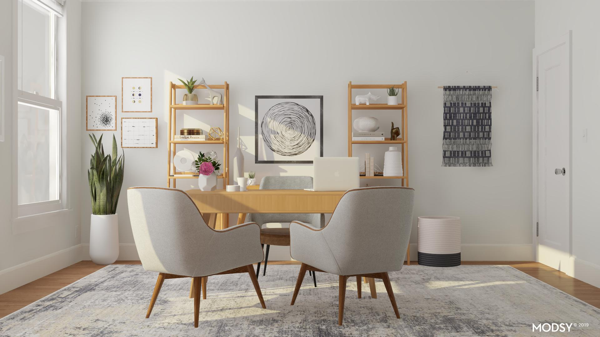 Classic Light And Airy Mid Century Modern Office