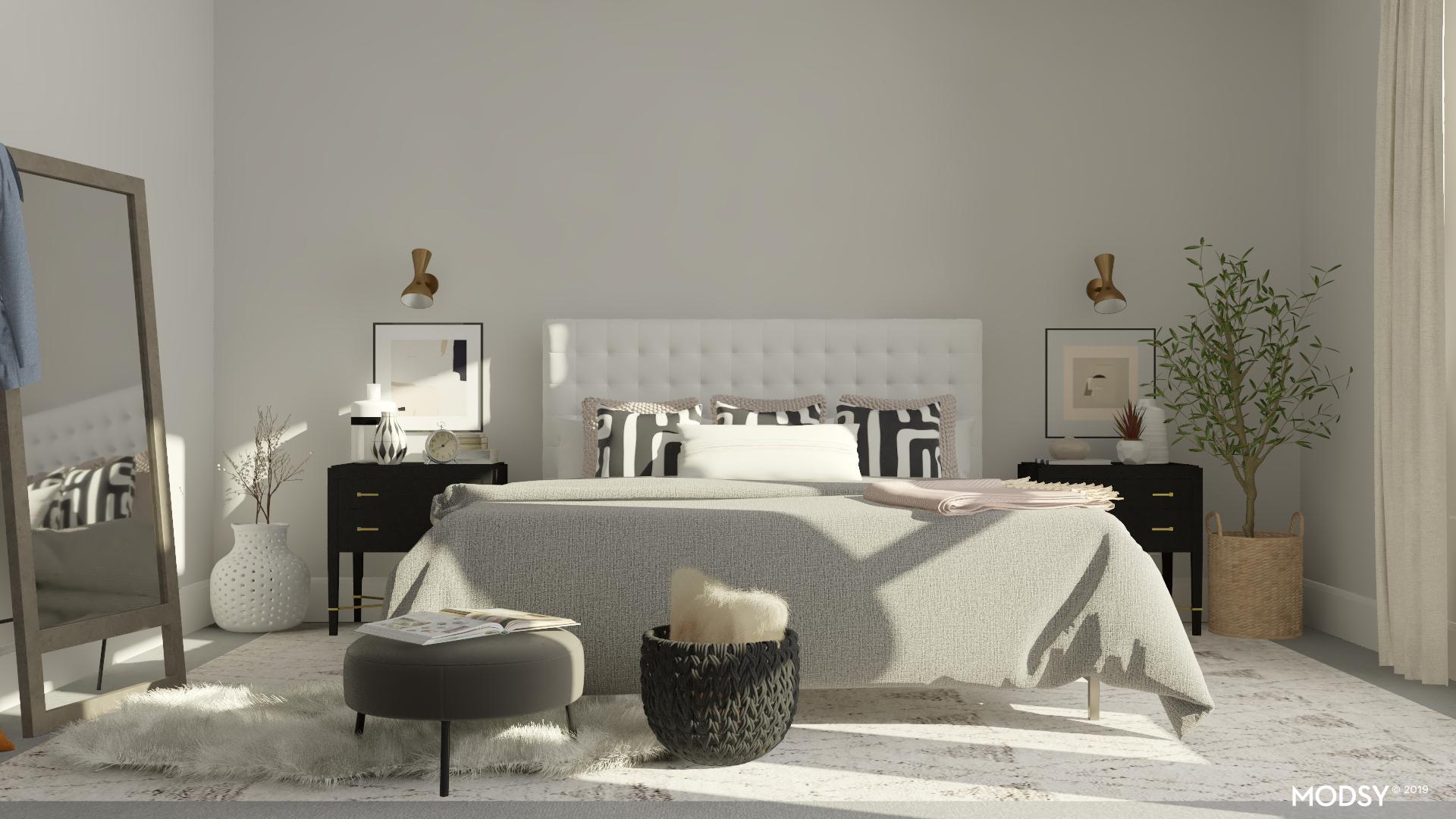Image of: A Black And White Mid Century Modern Bedroom Mid Century Modern Style Bedroom Design Ideas