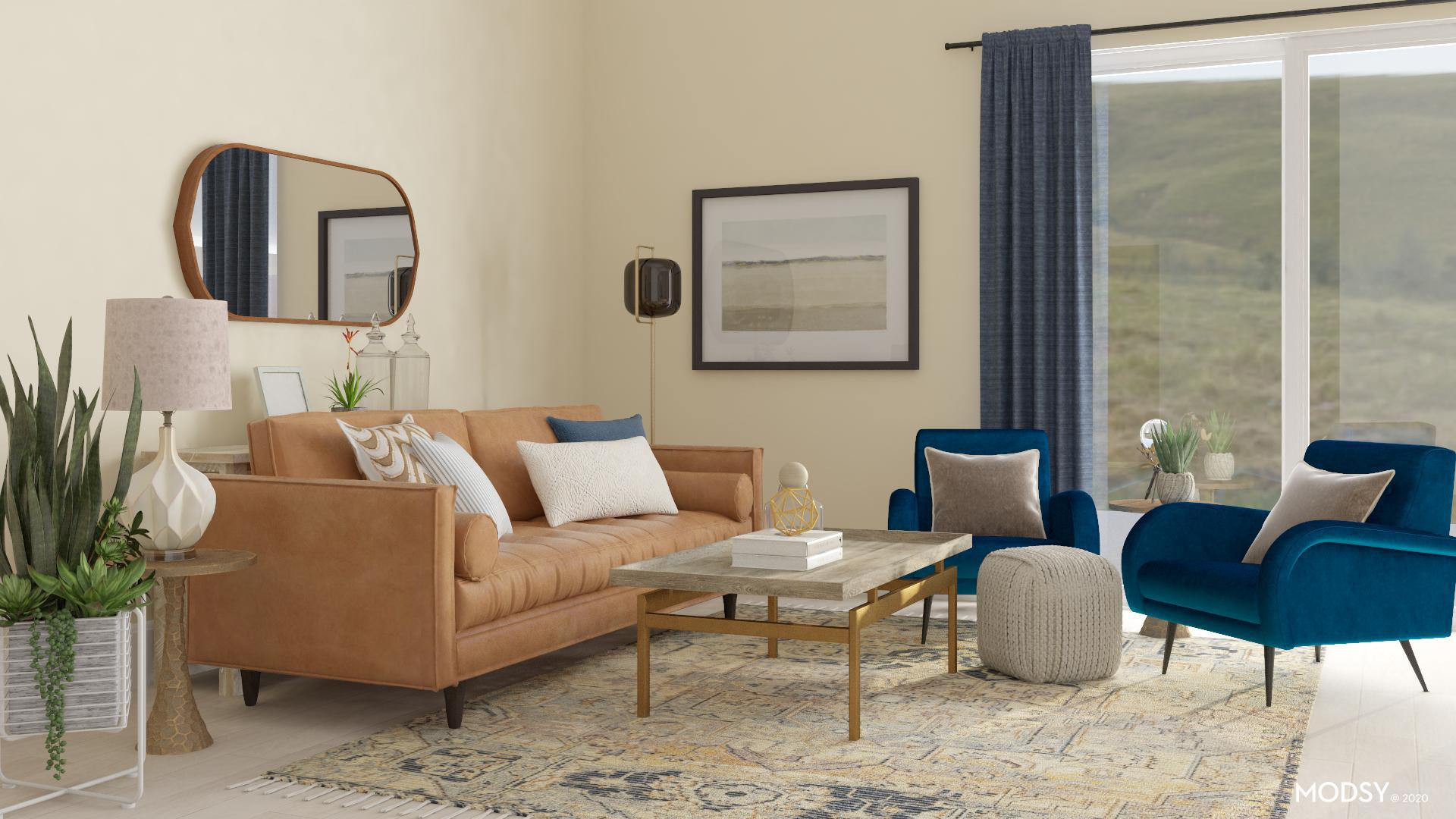 Elegant Transitional Blue Transitional Style Living Room