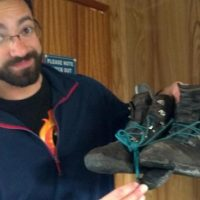 Gabe Yospin demonstrates what a toll science trekking can take on your hiking boots