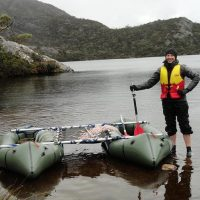 Laurie Stahle after coring Lake Rodway
