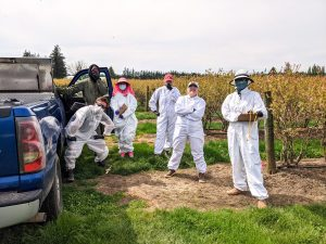 Five people wearing white jumpsuits, another person in a jacket stand just outside a blueberry field.
