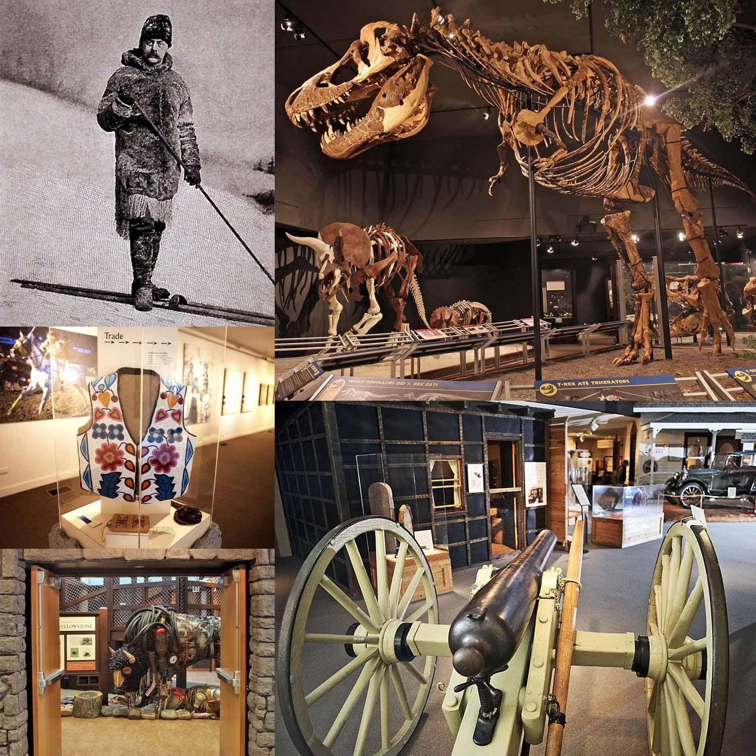 Collage of Montana's T.rex, Bain wagon, American Indian beaded vest, Explore Yellowstone entrance and a historical photo of a hunter in the winter.