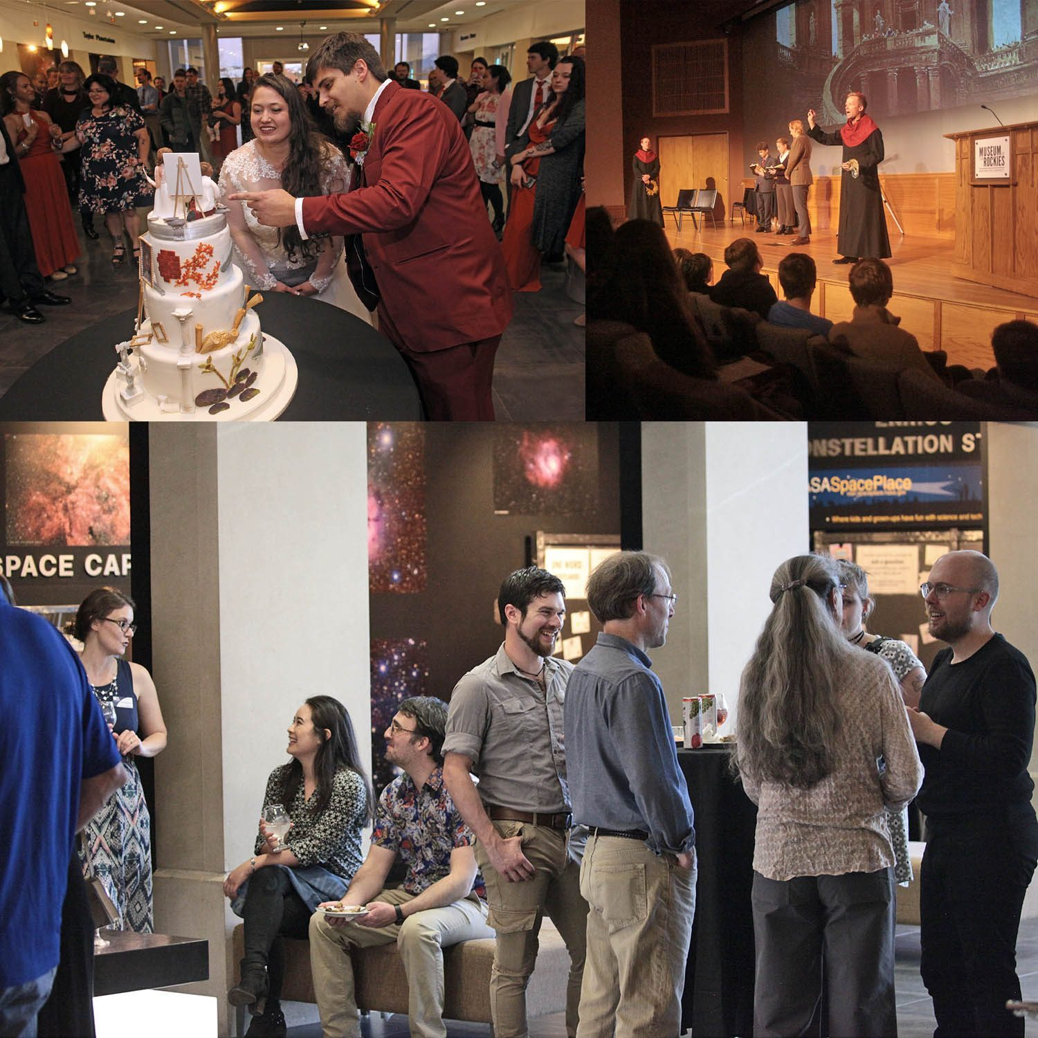 A collage of a couple looking at their wedding cake in the Bair Lobby, actors on the Hager Auditorium stage, and people mingling in the Bair Lobby