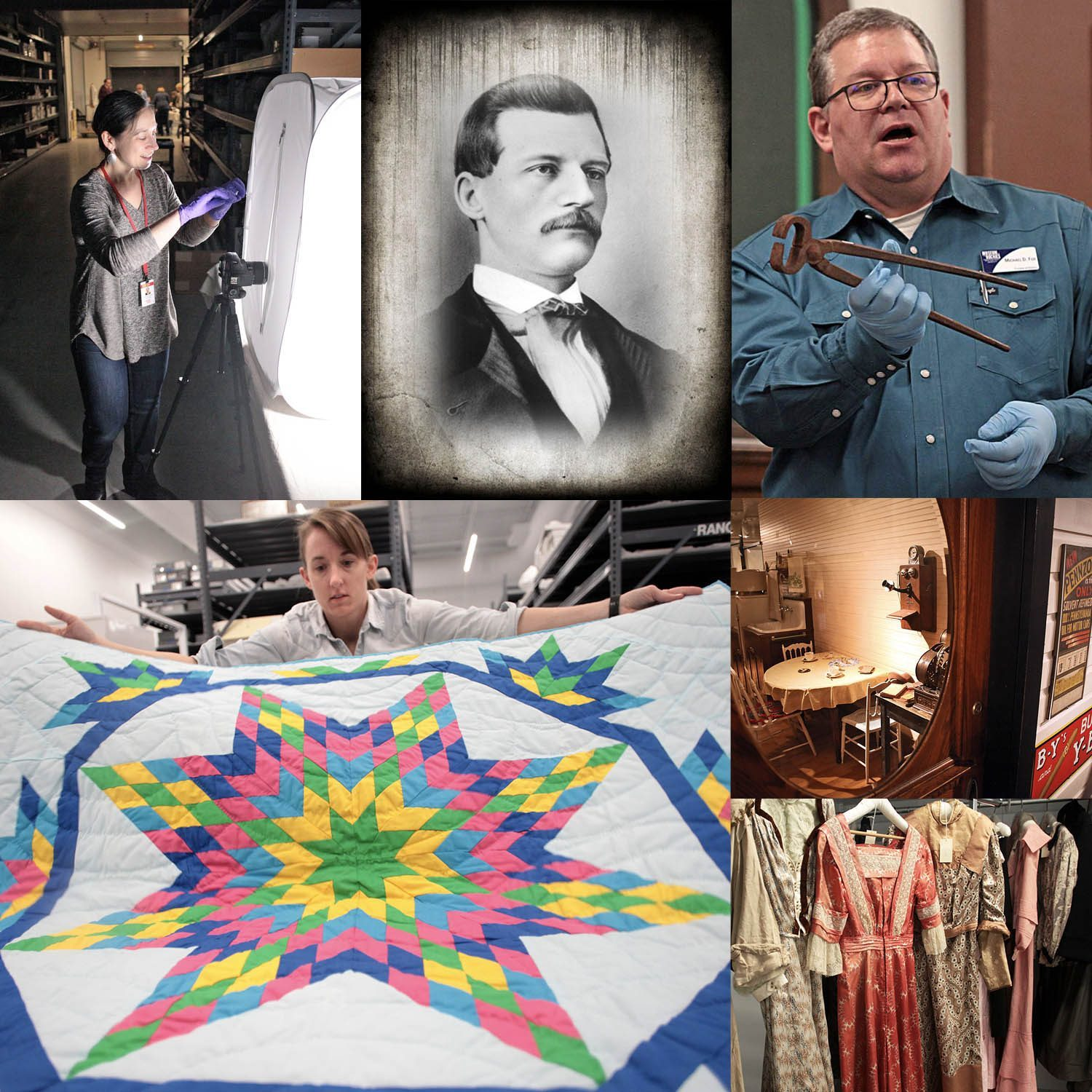 A collage of history department staff giving presentations, a heritage quilt, 1930s house, and the museum's textile collection.