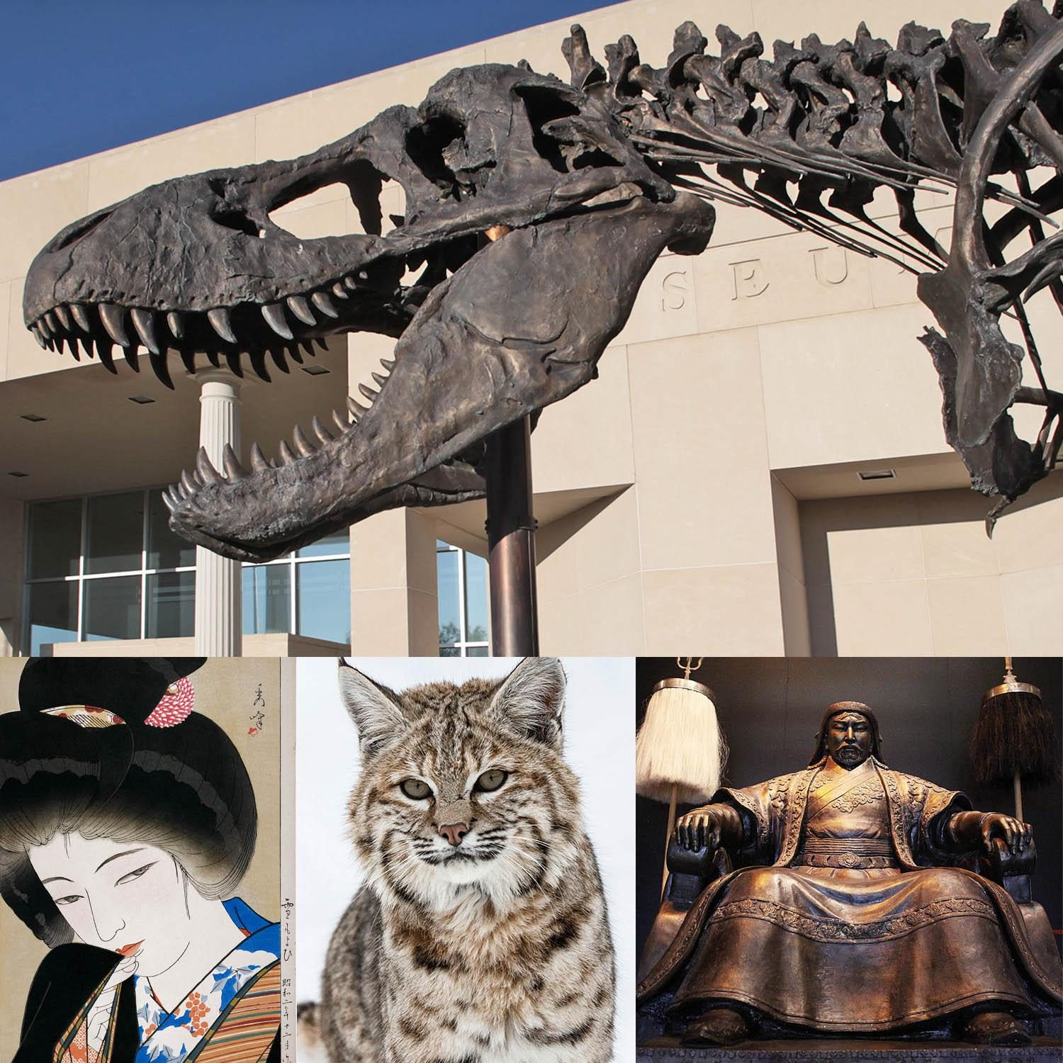 Collage of the Big Mike sculptures and photos from past exhibits such as Seven Masters, A Life in the Wild, & Genghis Khan.