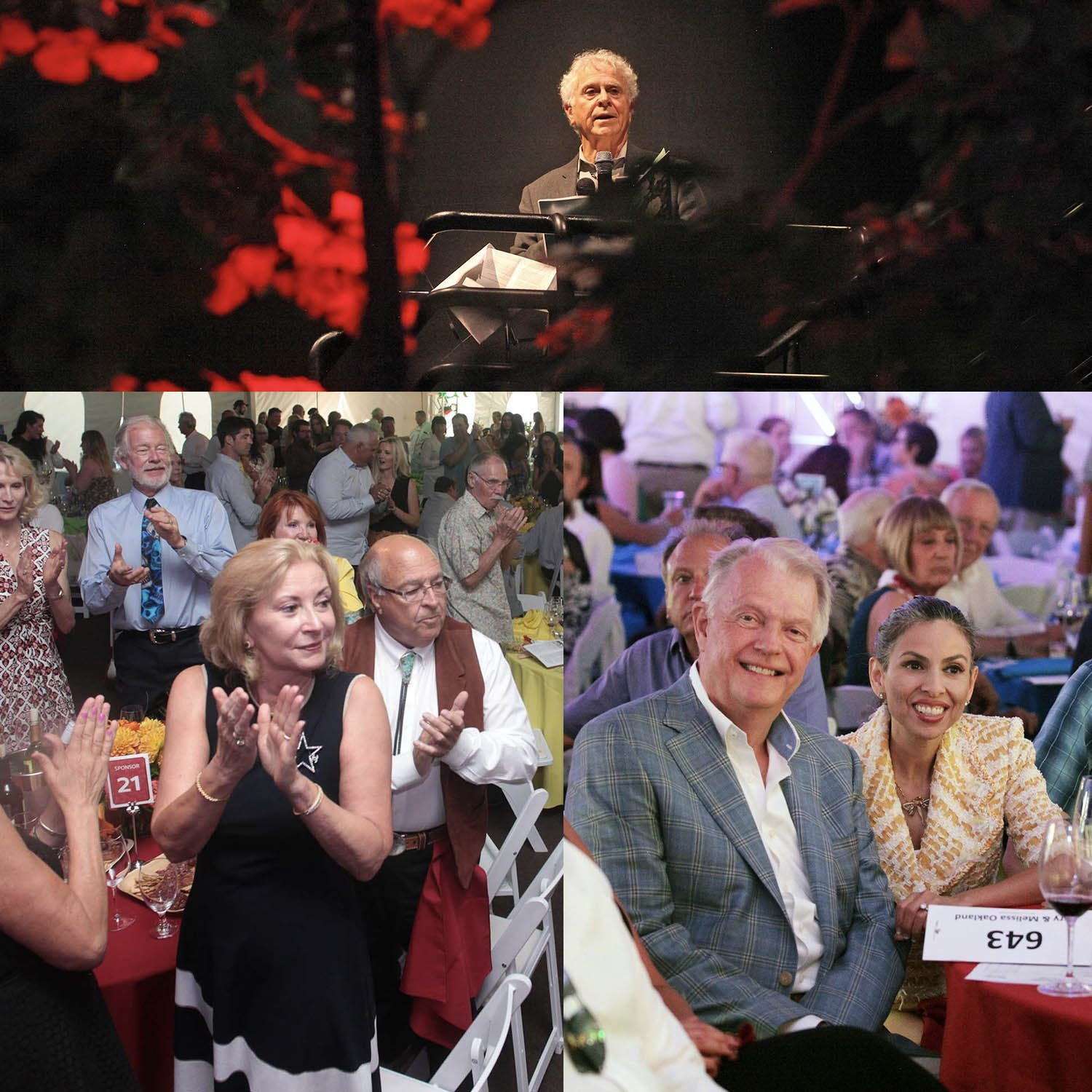 A photo collage of National Advisory Board members smiling, clapping, or speaking at different benefit events.