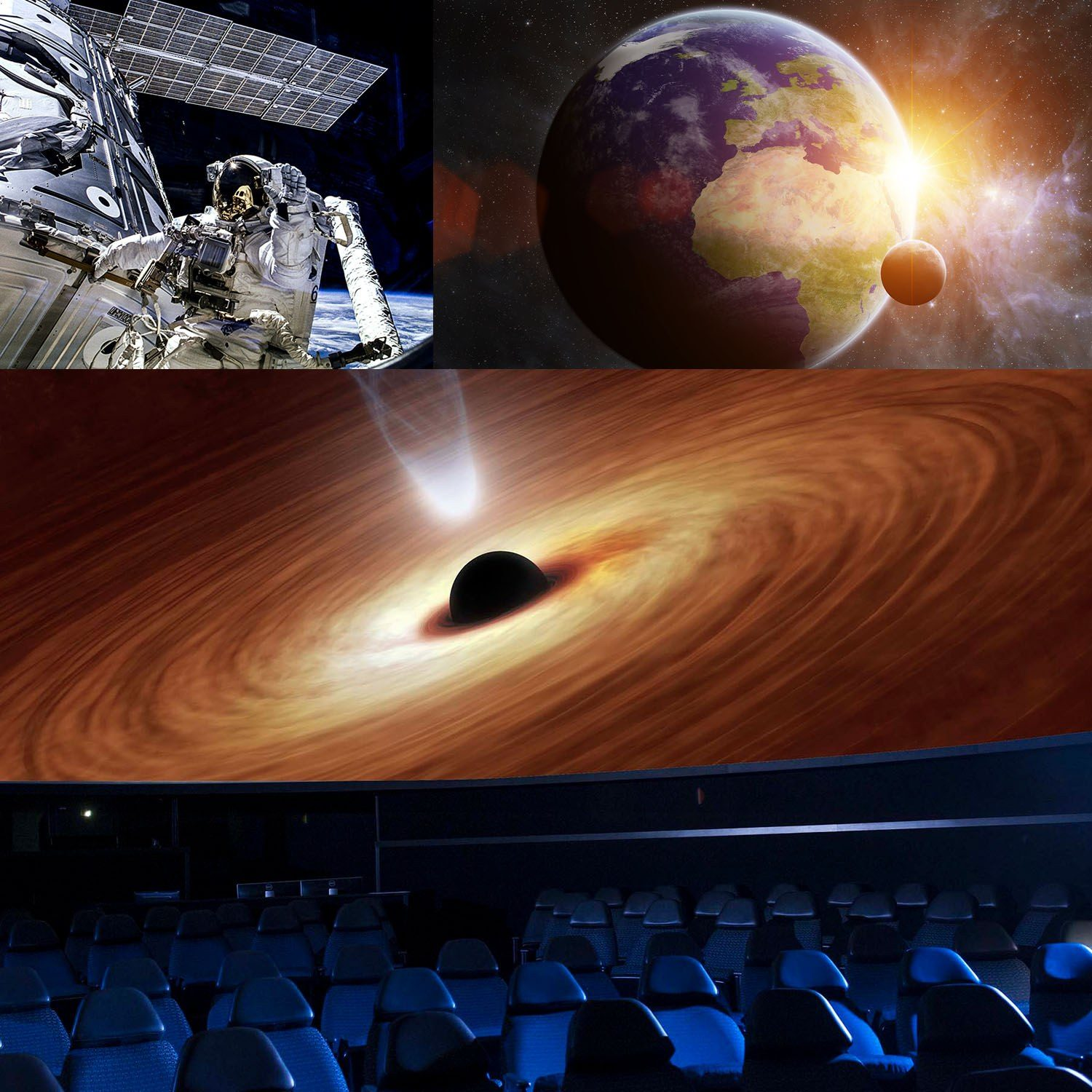 Collage of the seats in the planetarium and three photos of solar system from past planetarium shows.