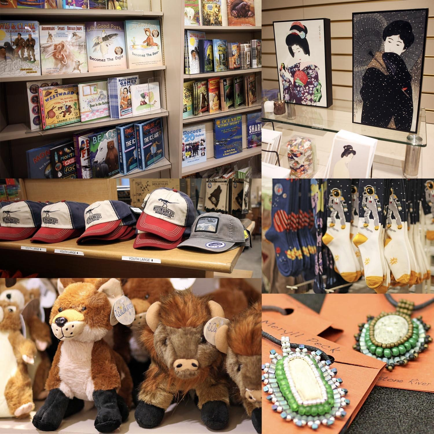 A collage of items available for purchase in the Museum Store such as books, art, plush toys, & jewelry.