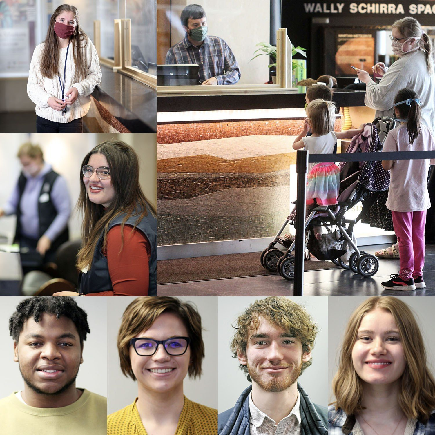 A photo collage of full-time staff and part-time high school and university student workers.
