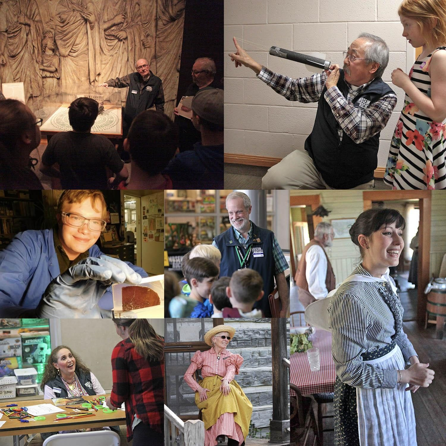 Collage of seven museum volunteers giving an array of educational tours for students and members.