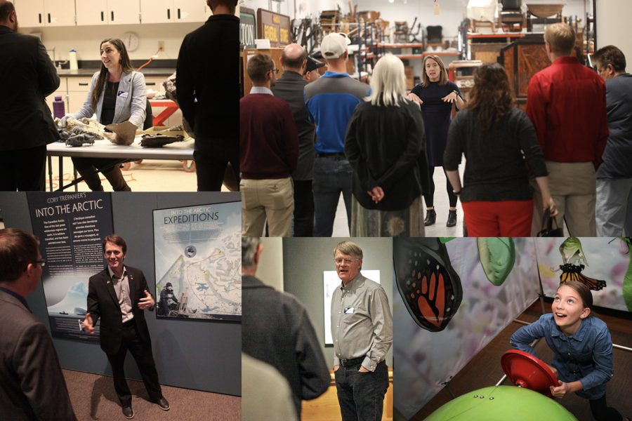 Collage of MOR staff and artists speaking with guests and a child learning in the past Butterfly exhibit.