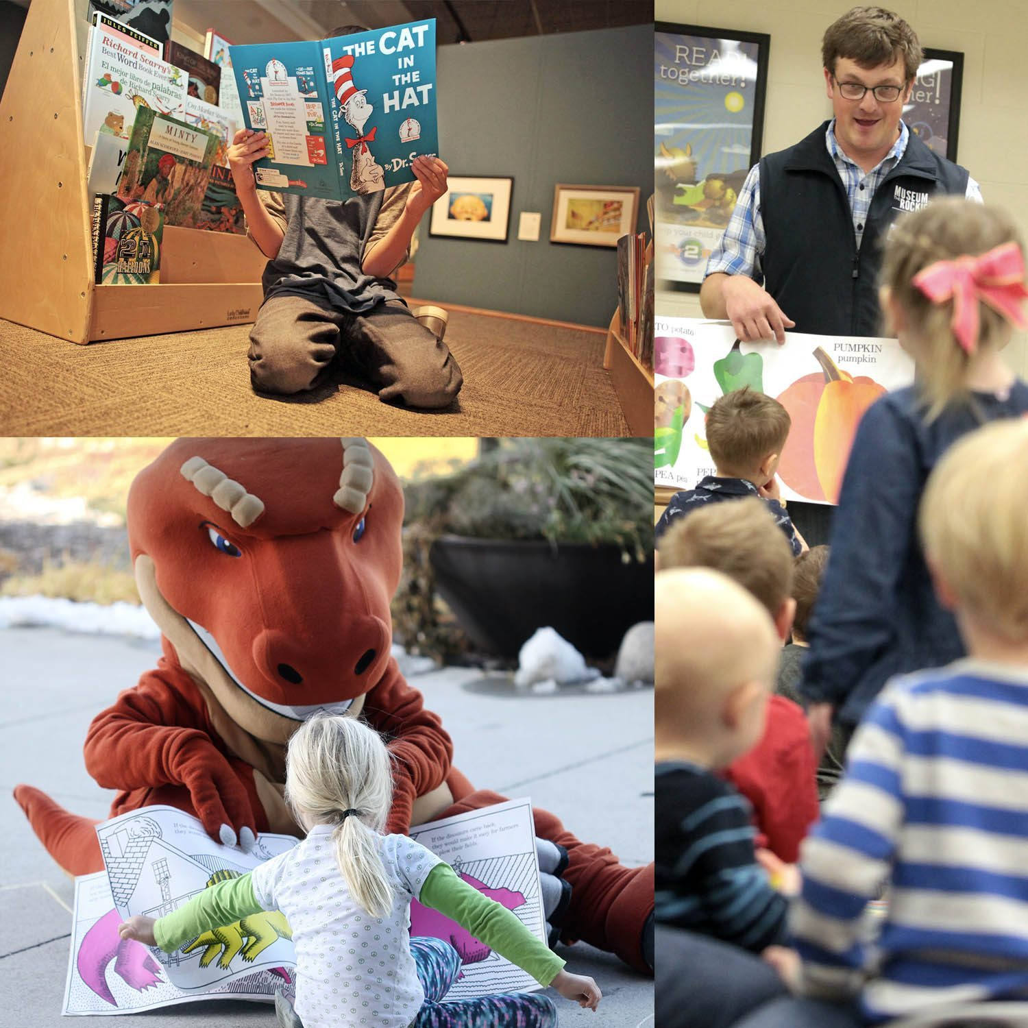 Three photos of museum staff and Rocky Rex reading to children of all ages.