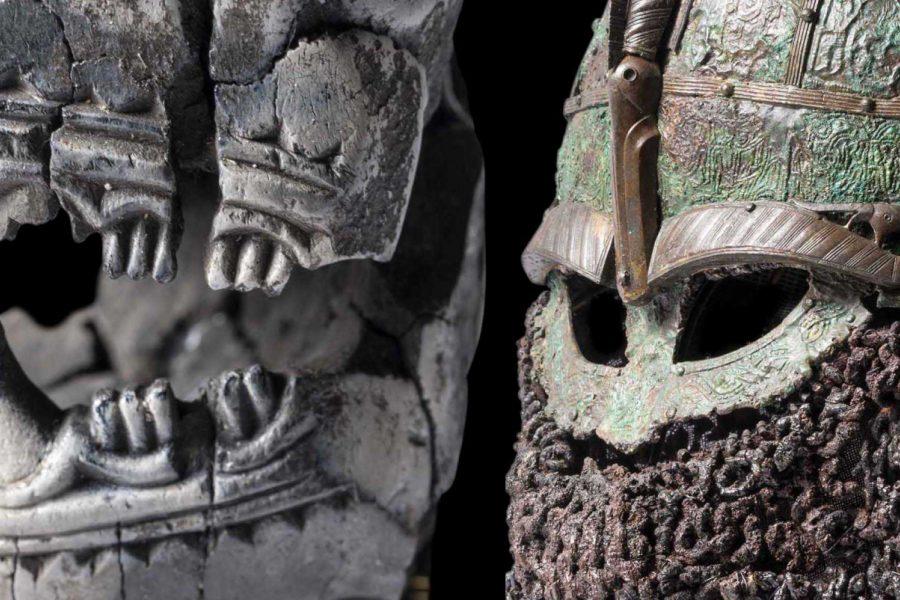 Bone animal head staff, 10th century. Photo: Mikael Wallerstedt/Gustavianum. Warrior's helmet, 7th century,