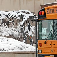 Big Mike, the bronze T. rex, is covered in snow. There is a yellow school bus parked nearby.