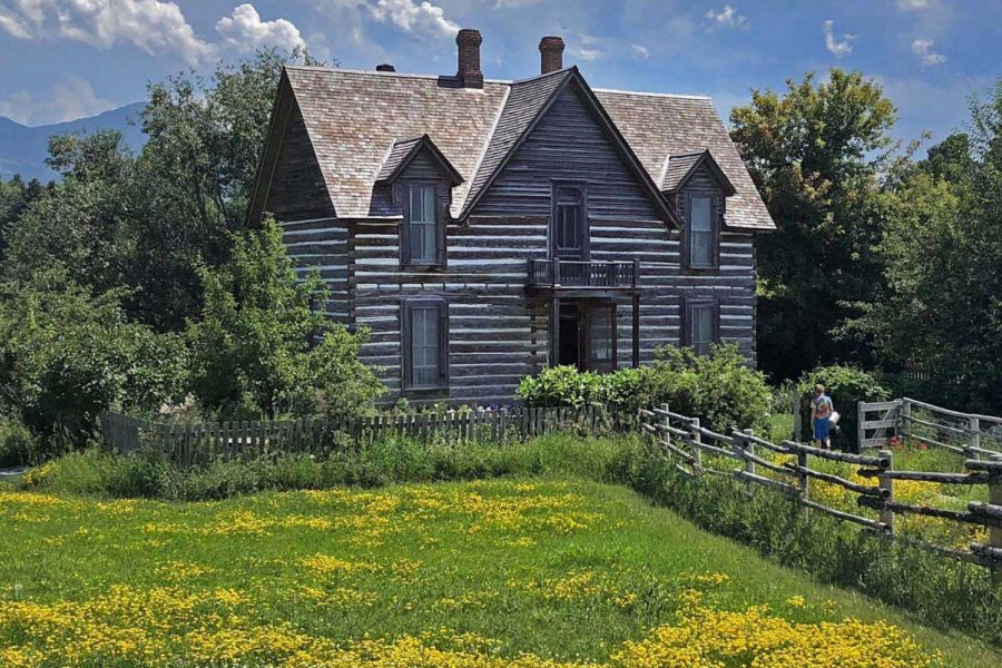 The circa 1880s Tinsley House in the summer with yellow flowers in the field around it.