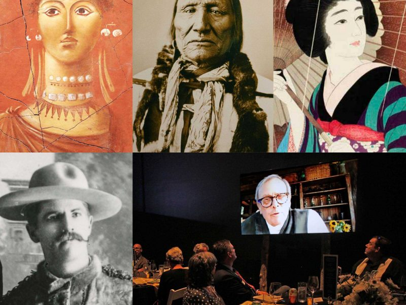 Collage of faces to support the museum's 2020 Year End Appeal Campaign: Egyptian, American Indian, Japanese, mountain man, and Tom Brokaw.