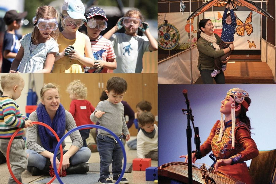 A collage of youth with goggles on during a Messy Science summer camp, a mother and daughter in the past Butterfly changing exhibit, parents and toddlers doing a hoop game in a Tours for Tots class, and a Mongolian musician playing a lap instrument.