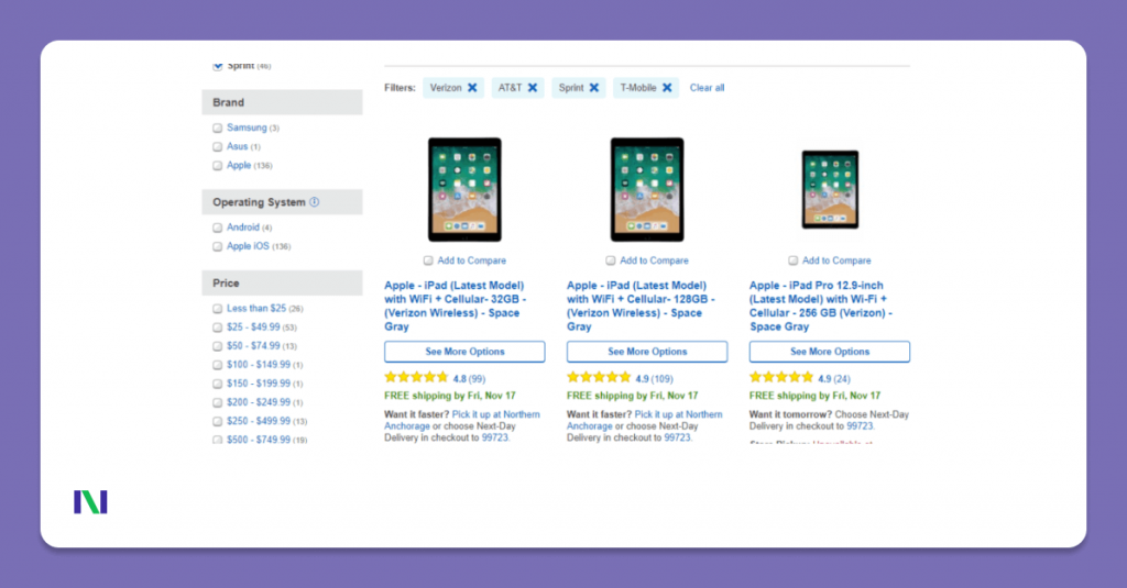 Product Listing Page Design