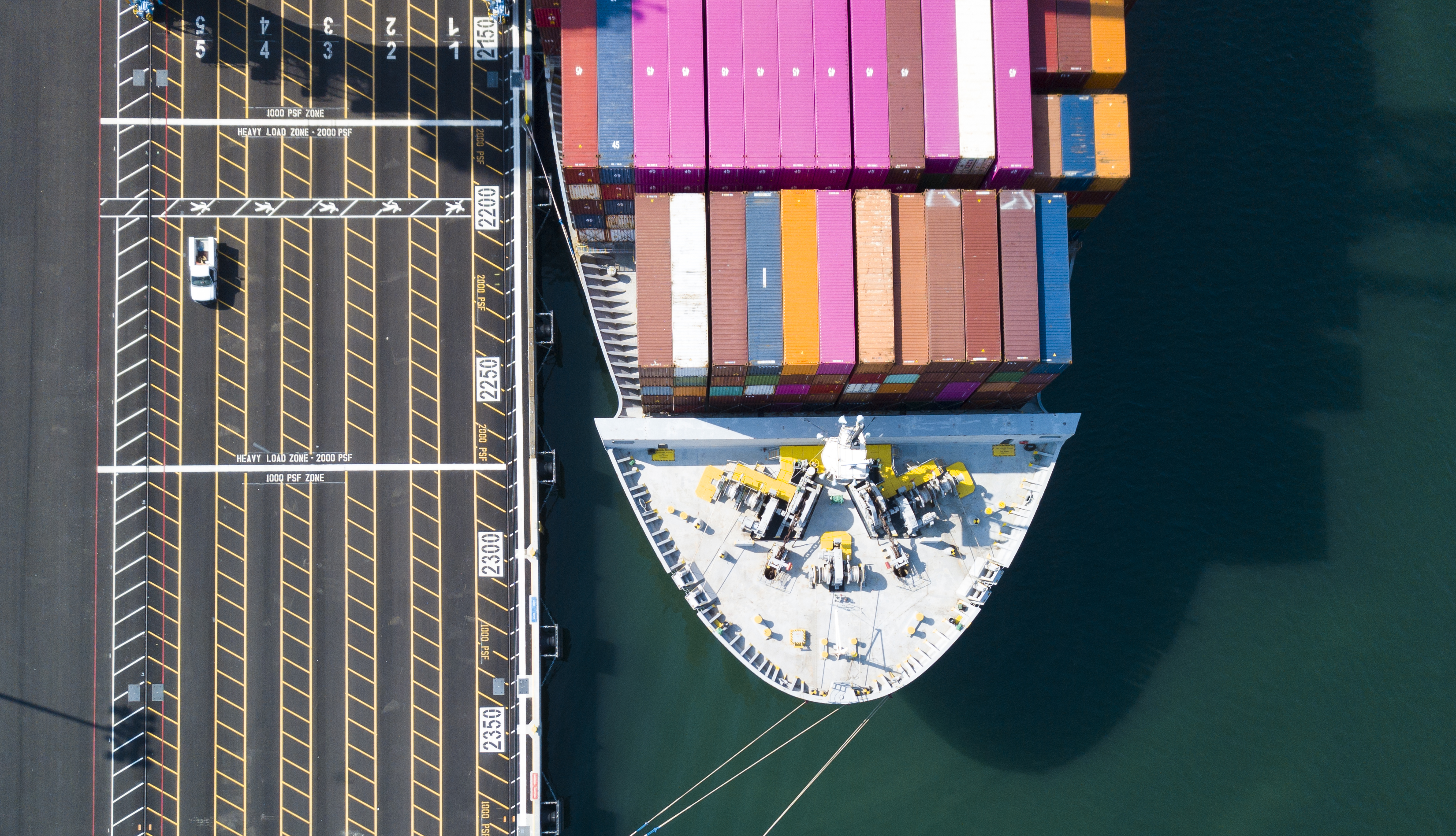 aerial image of a containership bow